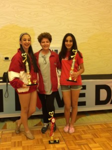 Christina Haddadin (Left), Helen Zohrabians (Center), and Polin Crete (Right) at the I Love Dance Competition