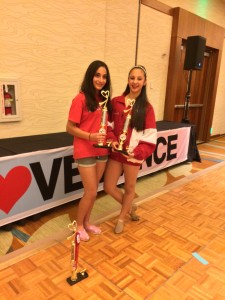Polin Crete (Left) and Christina Haddadin (Right) receiving First Place trophies at the I Love Dance Competition
